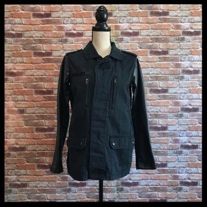 Topshop Utility Jacket With Faux Leather Sleeves